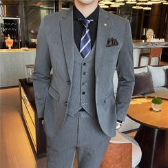 Buffalo Boo - Set: Single-Breasted Blazer + Vest + Dress Pants