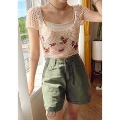 chuu - Flower Embroidery Net Knit Top
