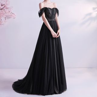 Fioridi Cold Shoulder A Line Evening Gown Yesstyle