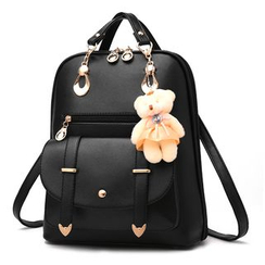miim(ミーム) - Faux Leather Backpack with Teddy Keychain