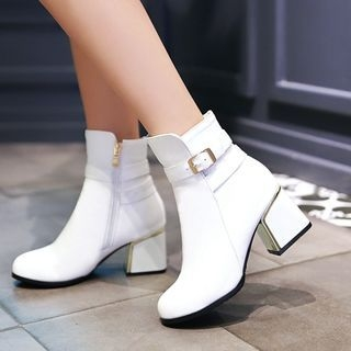 Pretty in Boots - Buckled Faux-Leather Block-Heel Boots