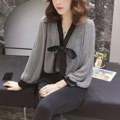 TROBIZ - 饰蝴蝶结长袖衬衫