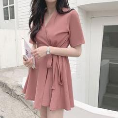 Leoom - Short-Sleeve Wrap A-Line Mini Dress