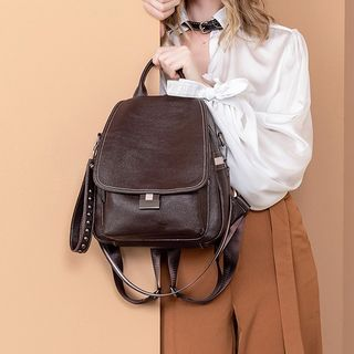 cococow - Faux Leather Flap Backpack