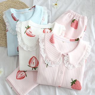 Dogini(ドジーニ) - Pajama Set: Strawberry Print Collared Top + Lounge Pants