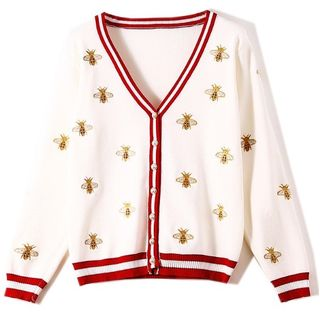 Clinsi - V-Neck Bee Embroidered Cardigan