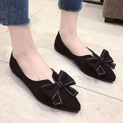 QQ Trend - Bow-accent  Faux Leather Pointed Flats