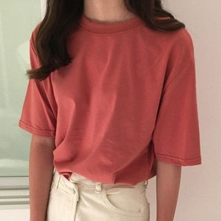 Dute - Elbow-Sleeve Plain T-Shirt
