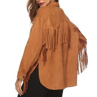 Wynell - Fringed Trim Button-Up Jacket