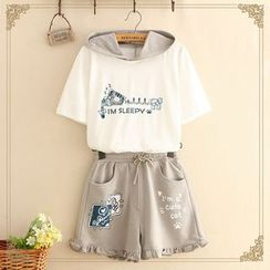 Kawaii Fairyland - Hooded Cat Print Short-Sleeve T-Shirt / Shorts / Set