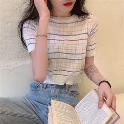 OGAWA - 短袖条纹针织短款上衣