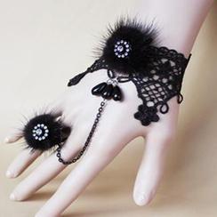 Fit-to-Kill - 蕾絲水貂毛水鑽手鏈戒指套裝
