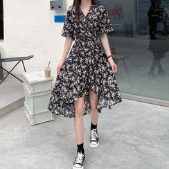 Luna Rouge - Short-Sleeve Floral Printed Asymmetrical  Hem Midi Dress