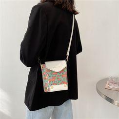 Miloes - Mini Strawberry Print Crossbody Bucket Bag