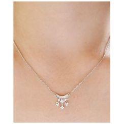 Miss21 Korea - Rhinestone-Pendant Chain Necklace