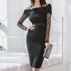 Kevina - Off-Shoulder Lace Panel Sheath Dress