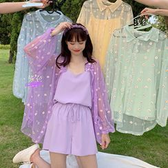 JIUHOJI - Camisole Top / Shorts / Floral Embroidered Mesh Shirt / Set