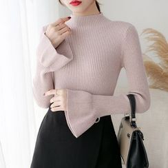 Norte - Long-Sleeve Mock Neck Ribbed Knit Top
