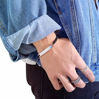 Tenri(テンリ) - Bar Stainless Steel Woven Cord Bracelet