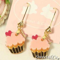 Sweet & Co. - Mini Pink Cupcake Crystal Gold Earrings