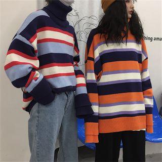 LASIBEI - Long-Sleeve Striped Knit Top