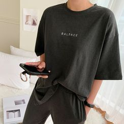 NANING9 - Letter T-Shirt & Jogger Pants Lounge Set