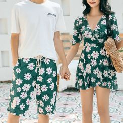 Salanghae - Couple Matching Short Sleeve V-Neck Floral Print Swimdress / Swim Shorts