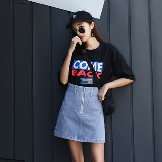 Denimot - Zip A-Line Mini Denim Skirt
