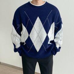Seoul Homme - Round-Neck Oversized Argyle Sweater