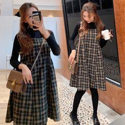 Clover Dream(クローバードリーム) - Maternity Set: Mock-Turtleneck Knit Top + Plaid A-Line Pinafore Dress