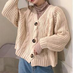 SHOSEEN - Cable-Knit Cardigan / Turtleneck Long-Sleeve T-Shirt