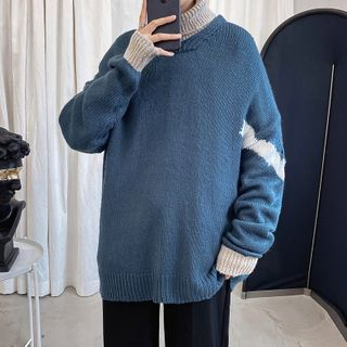 Wescosso - High-Neck Long-Sleeve Sweater