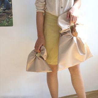 TangTangBags - Faux Leather Ruffled Shopper Bag