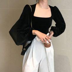 monroll - 方領絲絨襯衫