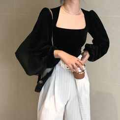 monroll - 方领丝绒衬衫