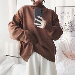 Alpaca - Plain Turtleneck Sweater