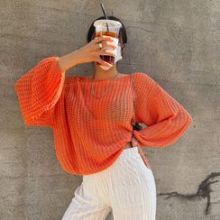 LIPHOP - Balloon-Sleeve Colored Oversized Sweater