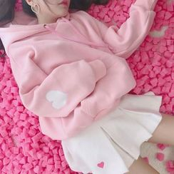 Ilda(イルダ) - Heart Applique Fleece-Lined Hoodie