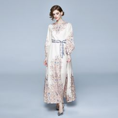 Staria - Floral Print Long-Sleeve A-Line Maxi Dress