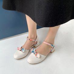Cinnabelle - Block Heel Bow Ankle Strap D'Orsay Pumps