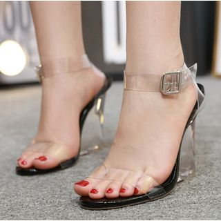 Niuna - Transparent Ankle Strap Wedge Sandals