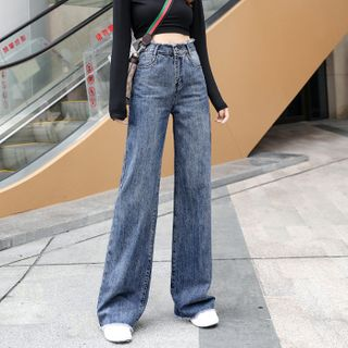 Walzee - Washed Wide Leg Jeans