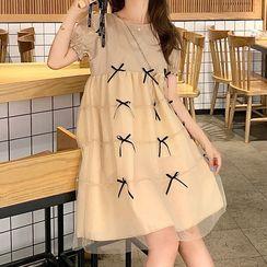 EZ Life - Maternity  Short-Sleeve Mesh A-Line Dress