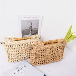 Lemite - Bamboo-Handle Straw Hand Bag