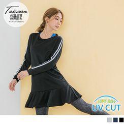 OrangeBear - 撞色邊條拼接機能抗UV荷葉小裙襬連身運動洋裝