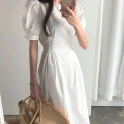 Pomona - 泡泡袖A字连衣中裙