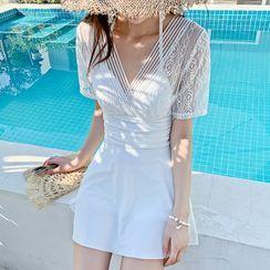 Tefiti - Short-Sleeve Open-Back Lace Swimdress