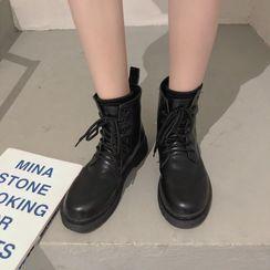 Putcho - Faux Leather Lace-Up Short Boots