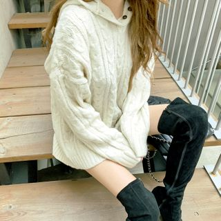 DEEPNY - Half-Placket Boxy Cable-Knit Hoodie