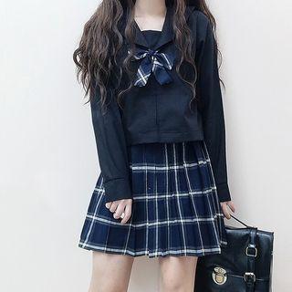 Tomoyo - Set: Sailor-Collar Shirt + Mini Plaid Pleated Skirt + Bow Tie